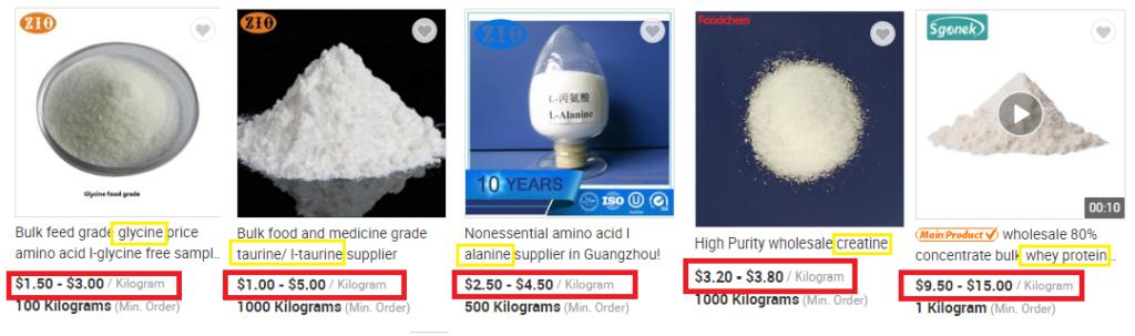 Whey y aminoacidos comparacion de precios