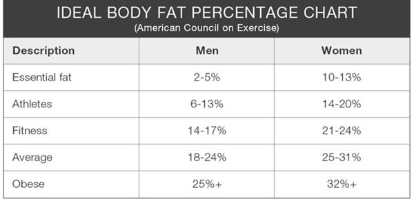 Tabla de grasa corporal