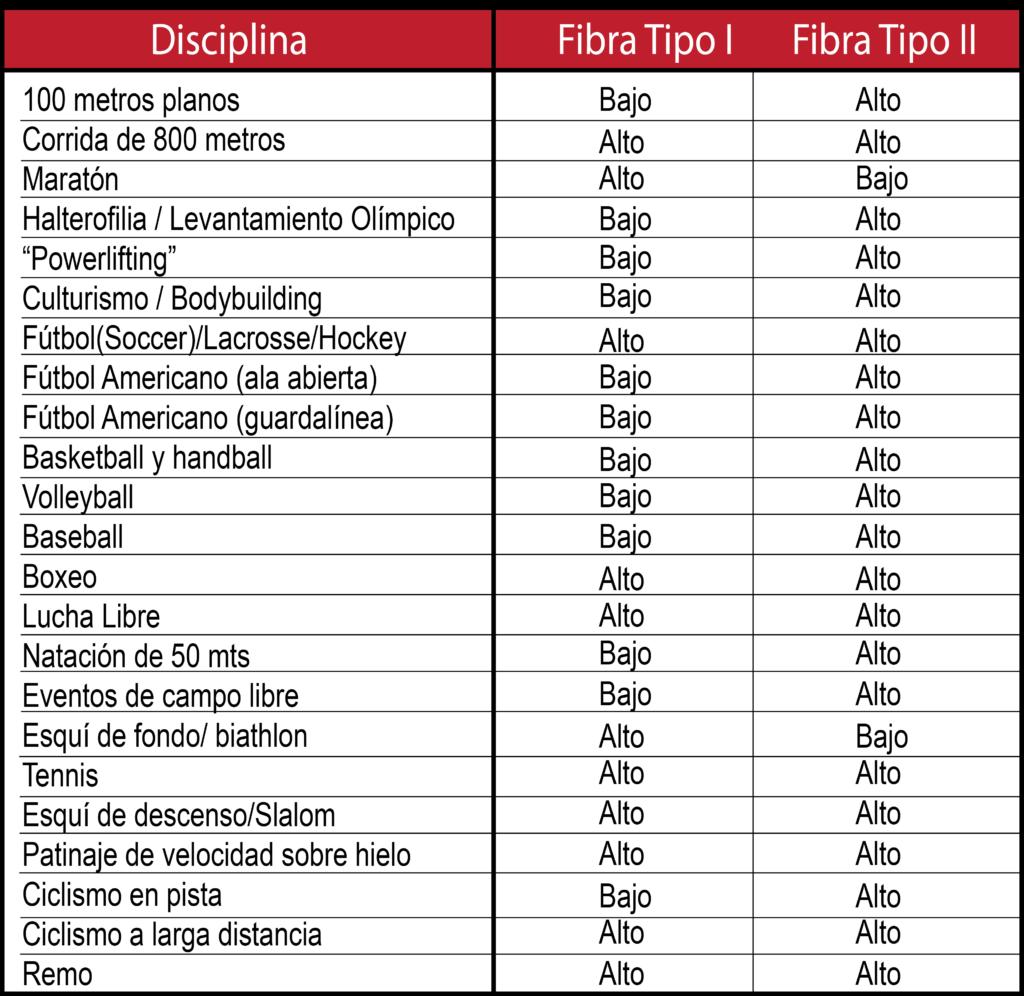 tipos de fibras musculares en deportistas