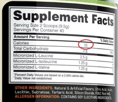 BCAAS calorias