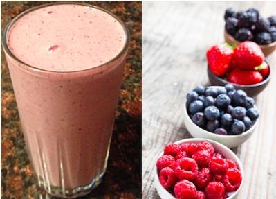 batido de proteina con fresa