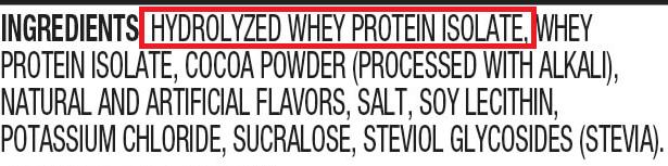 ingredientes whey hidrolisis