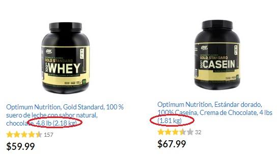 whey vs caseina precio