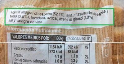 pan natural procesado